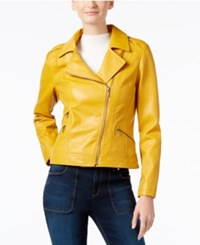 Inc International Concepts Faux Leather Moto Jacket Only At Macy's Mustard Yellow