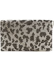 Giorgio Armani Animal Print Embellished Clutch Grey