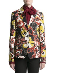 Pink Tartan Floral Stretch Cotton Blazer Black Multi