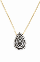 Freida Rothman 'Metropolitan' Teardrop Pendant Necklace Black Clear Gold
