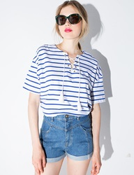 Stripe Lace Up Top