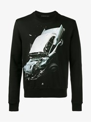 Christopher Kane Car Crash Print Sweatshirt Black Multi Coloured