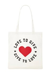 Forever 21 Love To Give Canvas Eco Tote Beige Multi