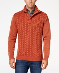 Weatherproof Vintage Men's Big And Tall Cable Knit Sweater Spice Heather