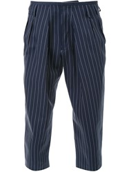 Fad Three Cropped Pinstripe Trousers Blue