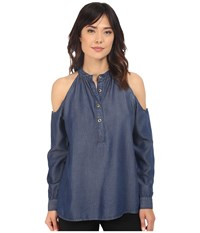 Nicole Miller Chambray Leigh Top Blue Women's Clothing