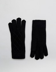 Aldo Cable Knit Gloves With Chenille Lining Black