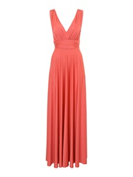 Biba Deep V Full Skirted Maxi Dress Coral