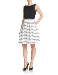 Carmen Marc Valvo Striped Fit And Flare Dress Black White