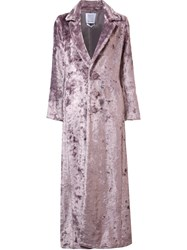 Rosie Assoulin Long Artificial Fur Coat Pink And Purple