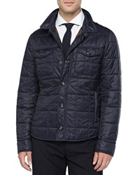 Brunello Cucinelli Milano Snap Front Puffer Jacket Navy