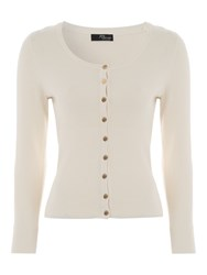 Jane Norman Black Essential Scoop Neck Cardigan Cream