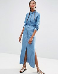 Asos Denim Maxi Shirt Dress In Light Blue Wash Light Wash Blue
