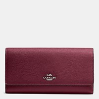 Coach Trifold Wallet In Crossgrain Leather Silver Burgundy