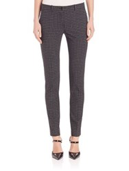 Michael Kors Windowpane Skinny Samantha Trousers Black White