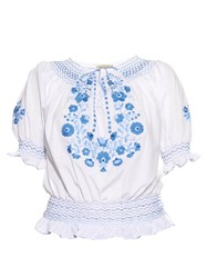 Muzungu Sisters Dora Embroidered Cotton Top Blue White