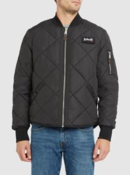 Schott Nyc Black Quilted Velcro Bomber Jacket