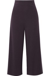 Tibi Cropped Stretch Jersey Wide Leg Pants Dark Purple