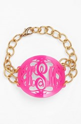 Women's Moon And Lola 'Annabel' Large Oval Personalized Monogram Bracelet Hot Pink Gold Nordstrom Exclusive