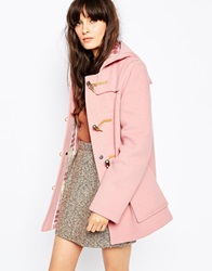 Gloverall Fitted Duffle Coat In Pale Pink