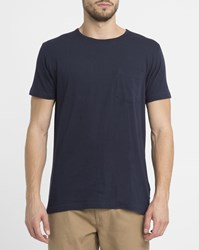 Revolution Navy 1002 Chest Pocket Round Neck T Shirt Blue