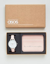Asos 'The World Is Your Oyster ' Watch And Card Holder Set Pink