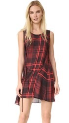 Mcq By Alexander Mcqueen Tartan Knot Drape Dress Red Tartan