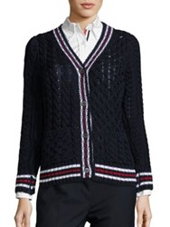 Thom Browne Cable Knit Wool Cardigan Navy