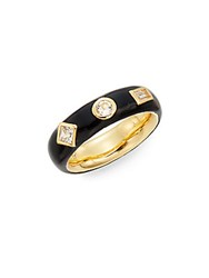Elizabeth And James Dia White Sapphire And Enamel Jo Band Ring Gold Black