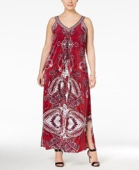 Inc International Concepts Plus Size Sleeveless Printed Maxi Dress Only At Macy's Glazed Berry