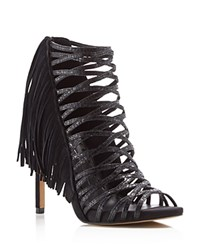 Dolce Vita Harrow Fringe Caged High Heel Sandals Black