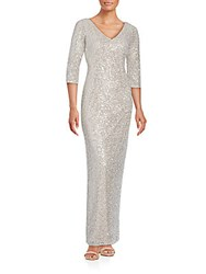 Kay Unger Three Quarter Sequin Gown Champagne