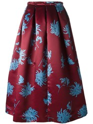 Rochas Floral Print Skirt Red
