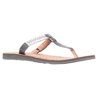 Ugg Bria Flat Toe Post Sandals Silver Leather