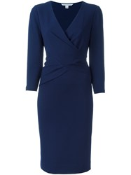 Diane Von Furstenberg Waist Wrap V Neck Dress Blue