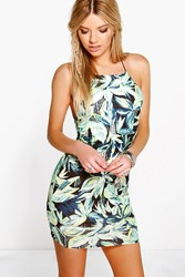 Boohoo Tropical Print Mini Bodycon Dress Black