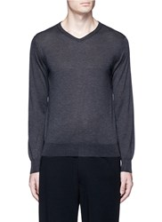 Tomorrowland Cashmere Silk V Neck Sweater Grey