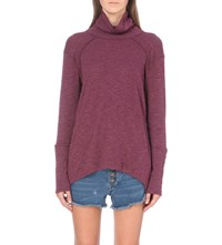 Free People Oversized Knitted Turtleneck Jumper Plum