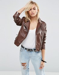 Asos Biker Jacket In Textured Faux Leather Brown