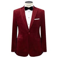 John Lewis Peak Lapel Velvet Tailored Dinner Jacket Ruby