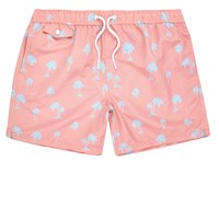 River Island Menspink Palm Tree Print Swim Trunks