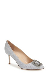 Manolo Blahnik 'Hangisi' Pointy Toe Pump Women Silver Fabric