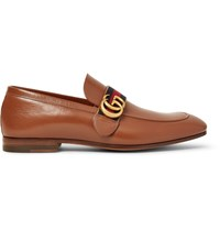 Gucci Webbing Trimmed Leather Loafers Brown