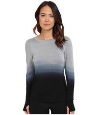 Trina Turk Ombre Jersey Twist Back Long Sleeve Top Black Women's Long Sleeve Pullover
