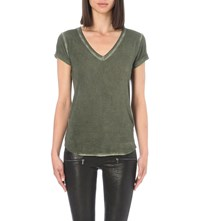 Paige Charlie V Neck Jersey T Shirt Vintage Army
