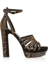 Tamara Mellon Supreme Metallic Twill And Suede Sandals Anthracite