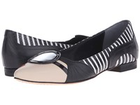 Alice Olivia Stace Face Flat Nude Nappa Black White Emboss Snake Women's Flat Shoes