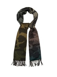 Begg And Co. Arran Camouflage Print Cashmere Scarf Green Multi