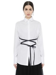 Valentino Cotton Poplin Shirt W Faux Leather Belt