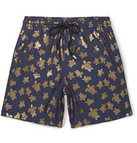 Vilebrequin Moorea Mid Length Metallic Print Swim Shorts Blue